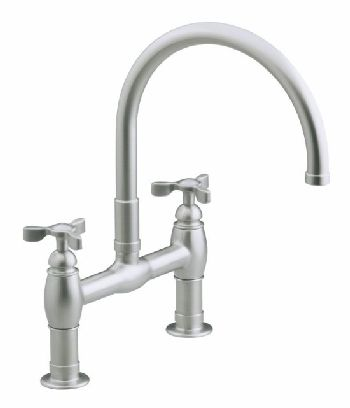 Kohler K-6130-3-BV Parq Deck-Mount Kitchen Bridge Faucet - Brushed Bronze (Pictured in Vibrant Stainless Steel)