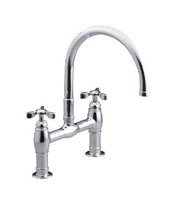 Kohler K-6130-3-SN Parq Deck-Mount Kitchen Bridge Faucet - Vibrant Satin Nickel (Pictured in Polished Chrome)