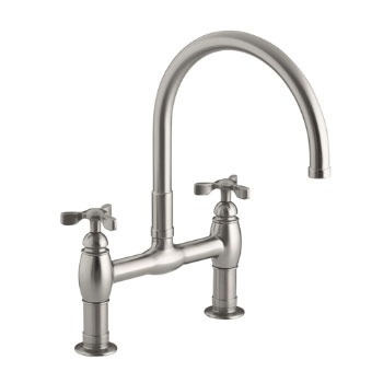 Kohler K-6130-3-VS Parq Deck-Mount Kitchen Bridge Faucet - Vibrant Stainless Steel
