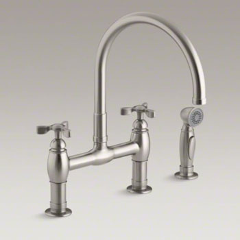 Kohler K 6131 3 Vs Parq Deck Mount Bridge Kitchen Faucet With Spray