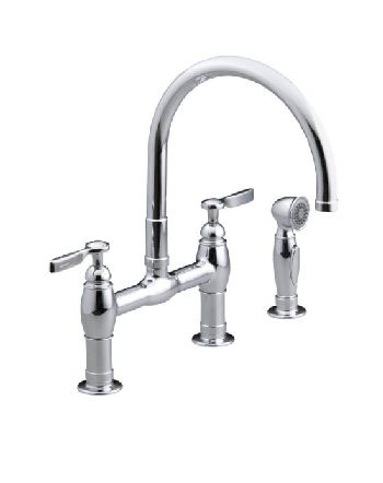 Kohler K-6131-4-SN Parq Deck-Mount Kitchen Bridge Faucet w/Sidespray - Vibrant Polished Nickel (Pictured in Polished Chrome)