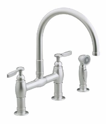 Kohler K-6131-4-VS Parq Deck-Mount Kitchen Bridge Faucet w/Sidespray - Vibrant Stainless Steel