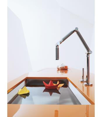 Kohler K-6227-VS Karbon Articulating Deck-Mount Kitchen Faucet - Vibrant Stainless Steel (Pictured in Polished Chrome)