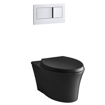 Kohler K-6299-7 Veil Wall Hung Elongated Toilet Bowl - Black