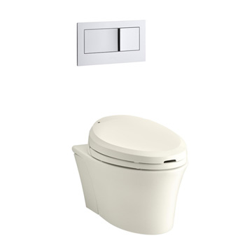 Kohler K-6300-96 Veil Wall Hung Elongated Toilet Bowl - Biscuit