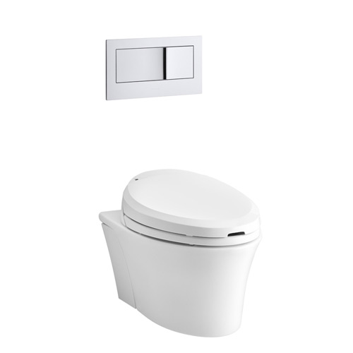 Kohler K-6304-0 Veil One Piece Elongated Dual Flush Wallhung Toilet with C3 Toilet Seat with Bidet Functionality - White