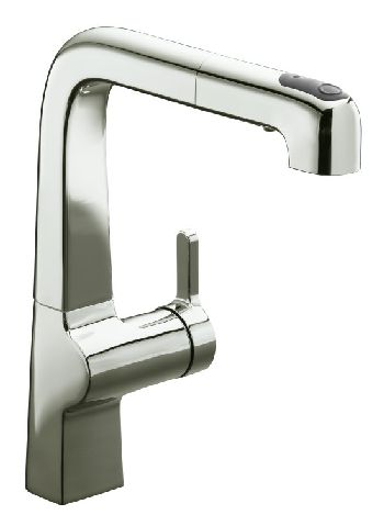 Kohler K-6331-SN Evoke Single Control Pullout Kitchen Faucet - Vibrant Satin Nickel
