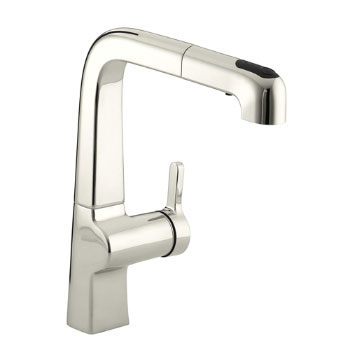 Kohler K-6331-SN Evoke Single Control Pullout Kitchen Faucet - Vibrant Satin Nickel