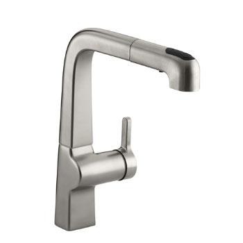 Kohler K-6331-VS Evoke Single Control Pullout Kitchen Faucet - Vibrant Stainless Steel