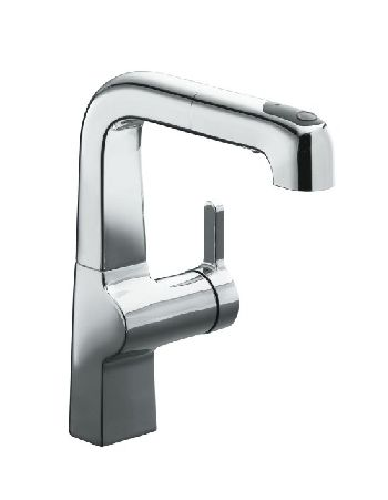 Kohler K-6332-SN Evoke Single Control Pullout Secondary Faucet - Vibrant Satin Nickel (Pictured in Polished Chrome)