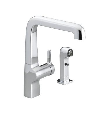 Kohler K-6334-SN Evoke Single Control Kitchen Sink Faucet w/Sidespray - Vibrant Satin Nickel (Pictured in Polished Chrome)