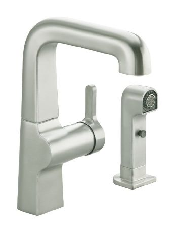Kohler K-6336-CP Evoke Secondary Single Control Faucet w/Sidespray - Polished Chrome (Pictured in Vibrant Stainless Steel)