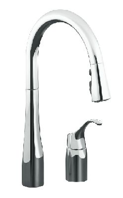 Kohler K-647-CP Simplice Single Handle Pulldown Kitchen Faucet - Polished Chrome