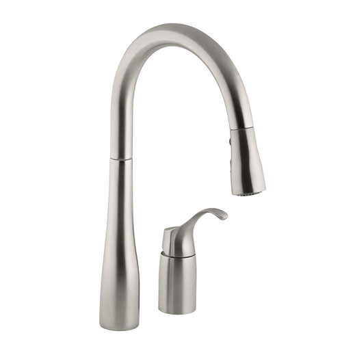 vibrant kitchen compressed stainless technology faucet k n sprayer down kohler handle response barossa faucets vs depot home sd the with in pull b single touchless