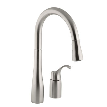 Kohler K-647-VS Simplice Single Handle Pulldown Kitchen Faucet - Vibrant Stainless Steel