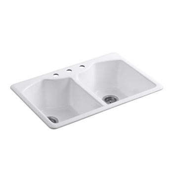 Kohler K-6482-3A4-0 Bellegrove Double Bowl Top Mount Kitchen Sink with Three Hole Drillings - White
