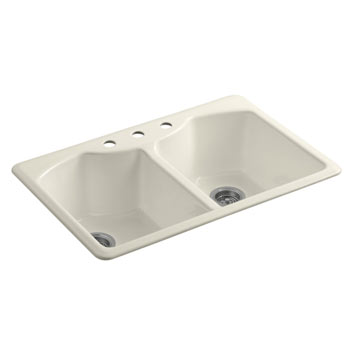 Kohler K-6482-3A4-47 Bellegrove Double Bowl Top Mount Kitchen Sink with Three Hole Drillings - Almond
