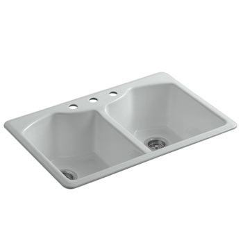 Kohler K-6482-3A4-95 Bellegrove Double Bowl Top Mount Kitchen Sink with Three Hole Drillings - Ice Grey