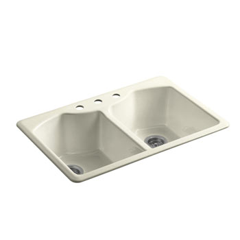 Kohler K-6482-3A4-FD Bellegrove Double Bowl Top Mount Kitchen Sink with Three Hole Drillings - Cane Sugar