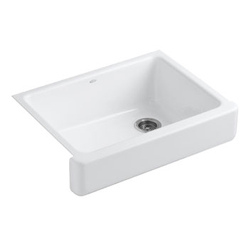 Kohler K-6486-0 Whitehaven Self-Trimming Apron Front Single Basin Kitchen Sink with Short Apron - White