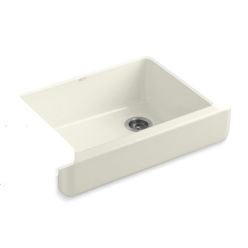 Kohler K-6486-96 Whitehaven Self-Trimming Apron Front Single Basin Kitchen Sink with Short Apron - Biscuit