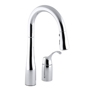 Kohler K-649-CP Simplice Single Handle Pulldown Secondary Sink Faucet - Polished Chrome
