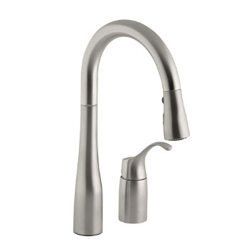 Kohler K-649-VS Simplice Single Handle Pulldown Secondary Sink Faucet - Vibrant Stainless Steel