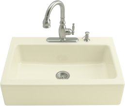 Kohler K-6546-3-96 Dickinson Apron Front Tile In Kitchen Sink - Biscuit