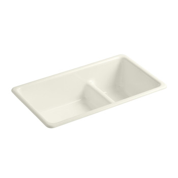 Kohler K-6625-96 Iron/Tones Double Basin Smart Divide Cast Iron Kitchen Sink - Biscuit