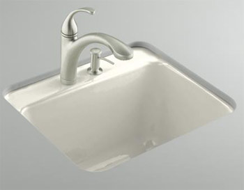 Kohler K-6663-1U-96 Glen Falls Undercounter Utility Sink with One Hole Faucet Drilling - Biscuit