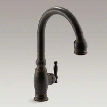 Kohler K-690-2BZ Vinnata Single Handle Kitchen Faucet with Pulldown 16 ...