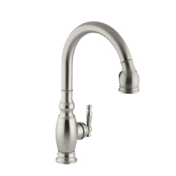 Kohler K-690-BN Vinnata Pull-Down Kitchen Faucet - Brushed Nickel