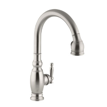 Kohler K-690-VS Vinnata Pull-Down Kitchen Faucet - Vibrant Stainless Steel