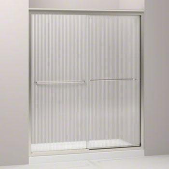 shower door with falling lines glass matte nickel