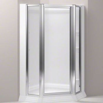Kohler K-702300-D3-SH Memoirs Framed Neo Angle Shower Enclosure with Frosted Glass - Bright Silver