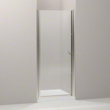 Kohler K-702402-G54-MX Fluence Frameless Pivot Shower Door with Falling Lines Glass - Matte Nickel