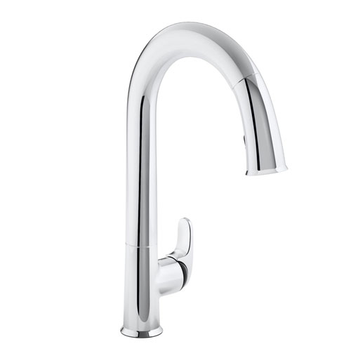 Kohler K-72218-B7-CP Sensate Touchless Kitchen Faucet with Black Accents 15-1/2 in Pulldown Spout - Chrome