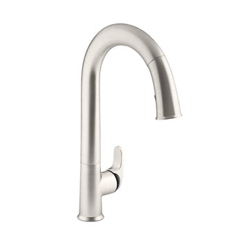 Kohler K-72218-B7-VS Sensate Touchless Pull Down Kitchen Faucet with Black Accents, DockNetik Magnetic Docking System, and 3 Function Sprayhead - Vibrant Stainless