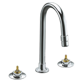Kohler K-7303-KE-CP Triton Widespread Lavatory Faucet with Gooseneck Spout with Vandal Resistant Aerator, Requires Handles - Chrome