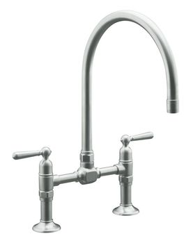 Kohler K-7337-4-BS HiRise Deck Mount Bridge Kitchen Faucet - Brushed Stainless