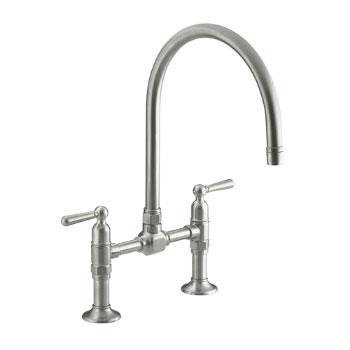 Kohler K-7337-4-BS HiRise Deck Mount Bridge Kitchen Faucet - Brushed Stainless