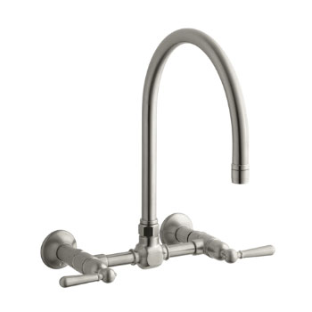 Kohler K-7338-4-BS HiRise Wall Mount Bridge Kitchen Faucet - Brushed Stainless