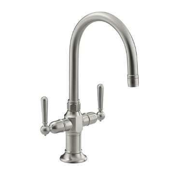 Kohler K-7342-4-BS HiRise Two Handle Bar Sink Faucet - Brushed Stainless
