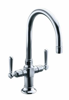 Kohler K-7342-4-S HiRise Two Handle Bar Sink Faucet - Polished Stainless