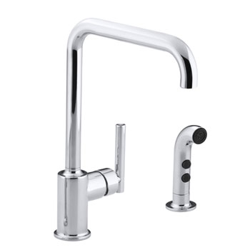 Kohler K-7508-CP Single Handle Kitchen Faucet with Side Spray From The Purist Collection - Polished Chrome