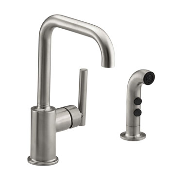 Kohler K-7511-VS Single Handle Bar Faucet With Side Spray From The Purist Collection - Vibrant Stainless