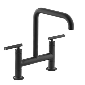 Kohler K-7547-4-BL Purist Deck-Mount Bridge Faucet - Matte Black