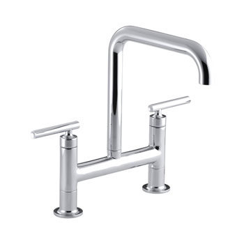 Kohler K-7547-4-CP Purist Deck-Mount Bridge Faucet - Chrome
