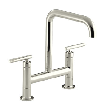 Kohler K-7547-4-SN Purist Deck-Mount Bridge Faucet - Polished Nickel