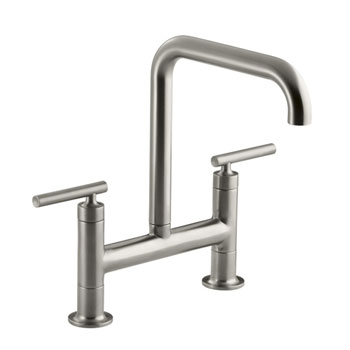 Kohler K-7547-4-VS Purist Deck-Mount Bridge Faucet - Stainless